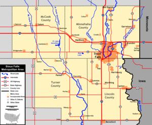 Sioux Falls, South Dakota metropolitan area - Map of the Sioux Falls Metropolitan Area