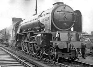 Sleaford railway station - 19 September 1954.  A1 4-6-2 No. 60136 'Alcazar' heads Trains Illustrated Fenland Rail Tour at Sleaford