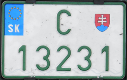 Slovakia import-temporary license plate-C 13231.png