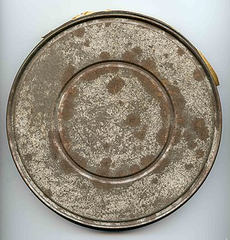 Stag film - An example of a decaying 16 mm stag film can.