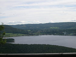 View of Snåsa over Snåsavatnet