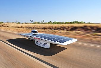 "Tokai University's solar car ""Tokai Challenger"", the winner of 2009 Global Green Challenge."