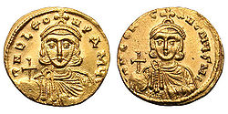 Gold coin of Emperor Leo III the Isaurian (r. 717-741), depicted with his son and successor, Constantine V. Leo first promoted iconoclasm, which became official policy under Constantine. Solidus-Leo III and Constantine V-sb1504.jpg