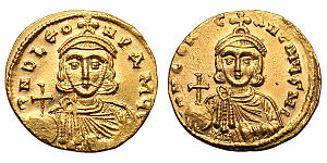 Byzantine Empire under the Isaurian dynasty - Gold solidus of Leo III showing his son and heir, Constantine V