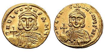 Solidus Leos III.  and his son and future emperor Constantine V.
