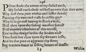 Sonnet 146 - Image: Sonnet 146 1609