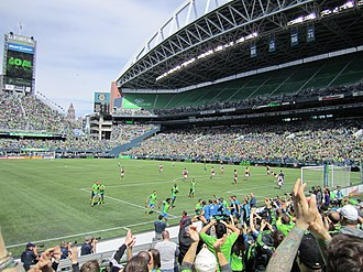 Seattle Sounders FC - Sounders players celebrating a goal against the Colorado Rapids, 2014
