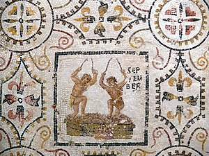 September (Roman month) - Image: Sousse mosaic calendar September
