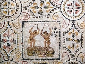 September (Roman month) - Image: Sousse mosaic calendar September