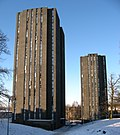 South towers with snowy ground, University of Essex, from the south.jpg
