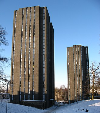 University of Essex - The south student residence towers, Bertrand Russell (left) and Eddington (right)