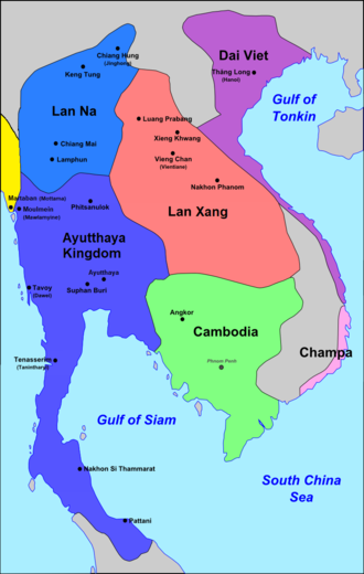 Lan Na - Extent of Lan Na's zone of influence (mid-blue), c. 1540.