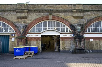 Spa Road railway station - Image: Spa Road station booking office exterior