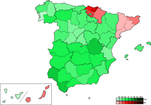 Spanish NATO membership referendum, 1986 - Image: Spain Province Map R1986