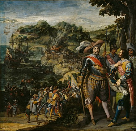 The Spanish capture of Saint Kitts in 1629 by Fadrique de Toledo, 1st Marquis of Villanueva de Valdueza Spanish capture of St Kitts.jpg