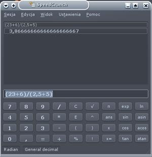 Calculator input methods - Image: Speedcrunch