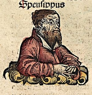 Speusippus - Speusippus, depicted as a medieval scholar in the Nuremberg Chronicle