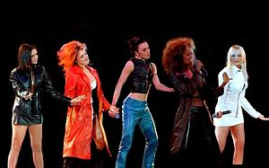 "Spice Girls - The group performing ""Say You'll be There"" at the McLaren party, in 1997."