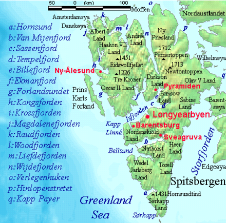 Map of Spitsbergen Spitsbergen labelled.png