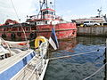 St. Iv Flag and Red Fighter at Quay A in Lennusadam in Tallinn 18 May 2014.JPG