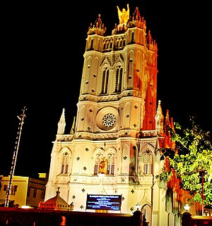 Roman Catholic Archdiocese of Trivandrum - St. Joseph's Cathedral at night