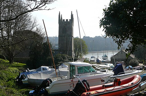 St Anthony in Meneage Church and boats (2308652264)