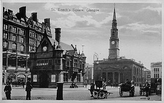 St Enoch Square - St Enoch Square, Glasgow around 1900 viewing south to the Clyde, with St Enoch Station and Hotel on the left, and St Enoch Church with spire.