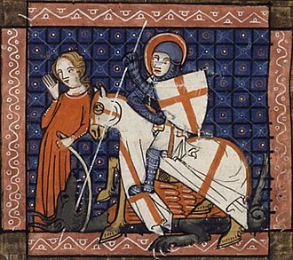 Saint George's Cross - Miniature of Saint George and the Dragon, ms. of the Legenda Aurea, dated 1348 (BNF Français 241, fol. 101v.)