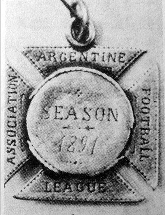 St. Andrew's Scots School - Medals awarded to St. Andrew's players when they won the 1891 final vs. Old Caledonians.