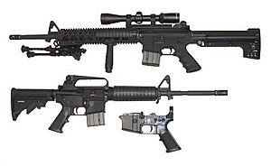 Modern sporting rifle - MSRs come in many sizes and have many options, depending on the manufacturer. The part shown bottom center is the lower receiver with pistol grip and trigger assembly.
