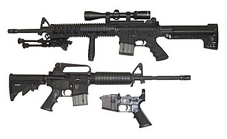 AR-15 style rifle - AR-15 style rifles come in many sizes and have many options, depending on the manufacturer. The part shown bottom center is the lower receiver without the receiver extension, rear takedown pin, and buttstock.