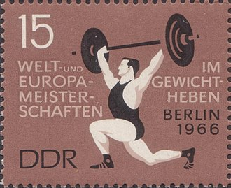 1966 World Weightlifting Championships - 1966 World Weightlifting Championships on an East German stamp