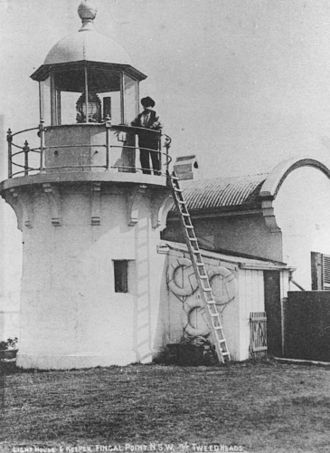 Fingal Head, New South Wales - Fingal Head Light with keeper, circa 1906