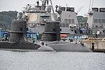 Stem of JS Seiryū(SS-509) & Oyashio class submarine right front view at U.S. Fleet Activities Yokosuka April 30, 2018 02.jpg