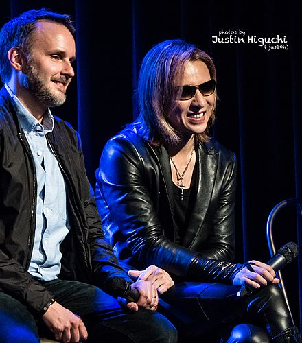 Yoshiki (right) with director Stephen Kijak at a Q&A session of the San Francisco screening of We Are X in October 2016 Stephen Kijak, Yoshiki (X Japan) 10-25-2016 -24 (30495748372).jpg