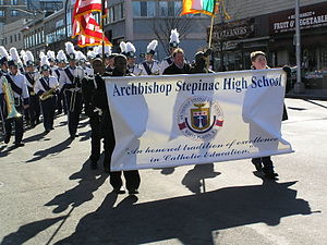 Archbishop Stepinac High School - Stepinac High School participates in the 2006 Saint Patrick's Parade in Yonkers