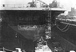 Stern view of USS Yorktown (CVS-10) in dry dock at Long Beach Navy Yard in 1967.jpg