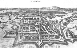 The town's fortifications as seen in 1642