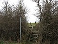 Stile on the path running north to Bryniau Tecaf and the Llaneuddog road - geograph.org.uk - 1229956.jpg