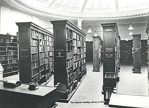 Stockport Central Library - Interior- reference library. Archive shot from 1913