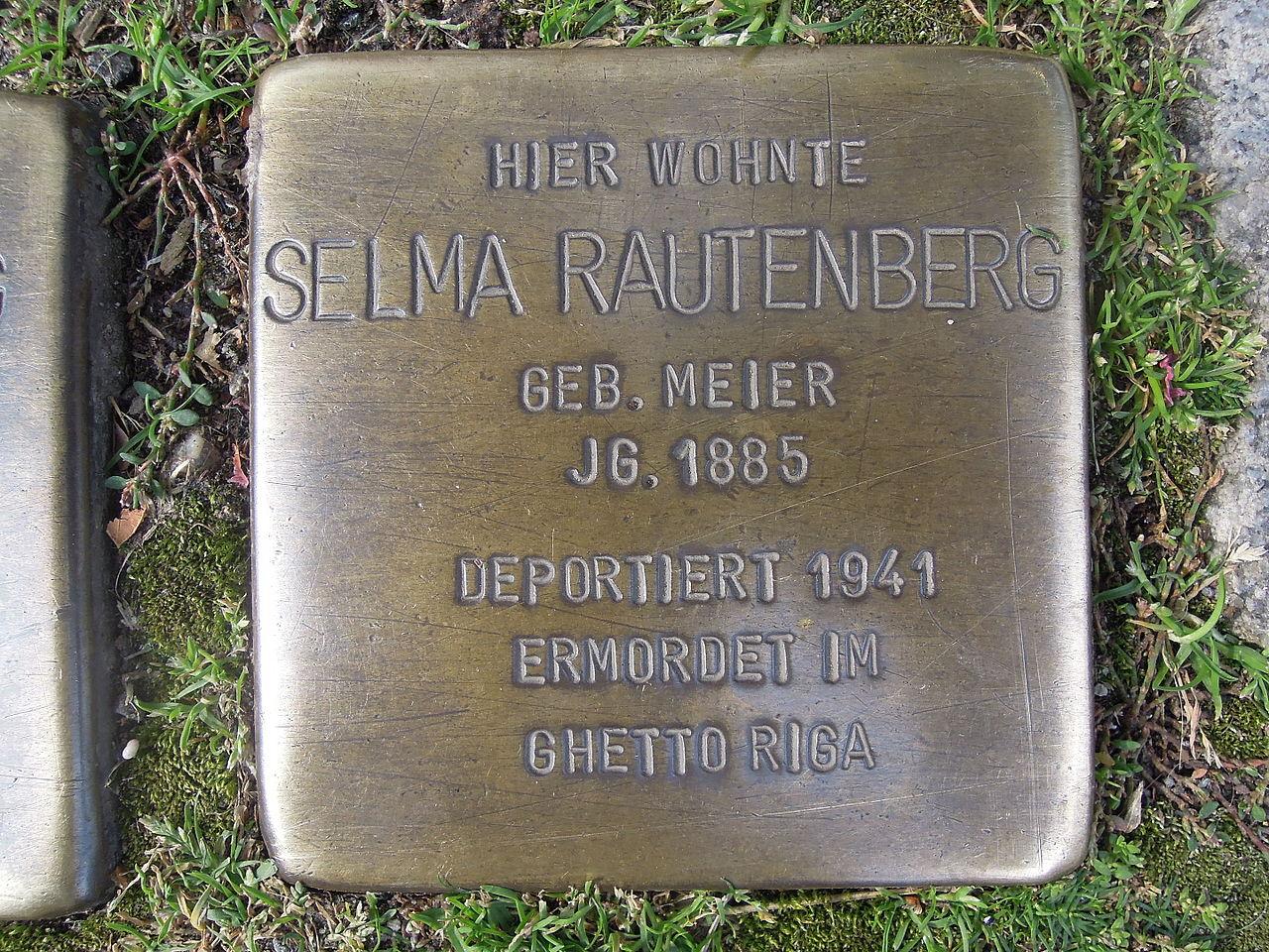 Stolperstein für Selma Rautenberg geb. Meier
