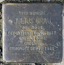Photo of Julius Grau brass plaque
