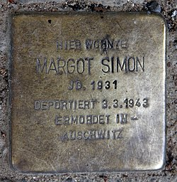 Photo of Margot Simon brass plaque