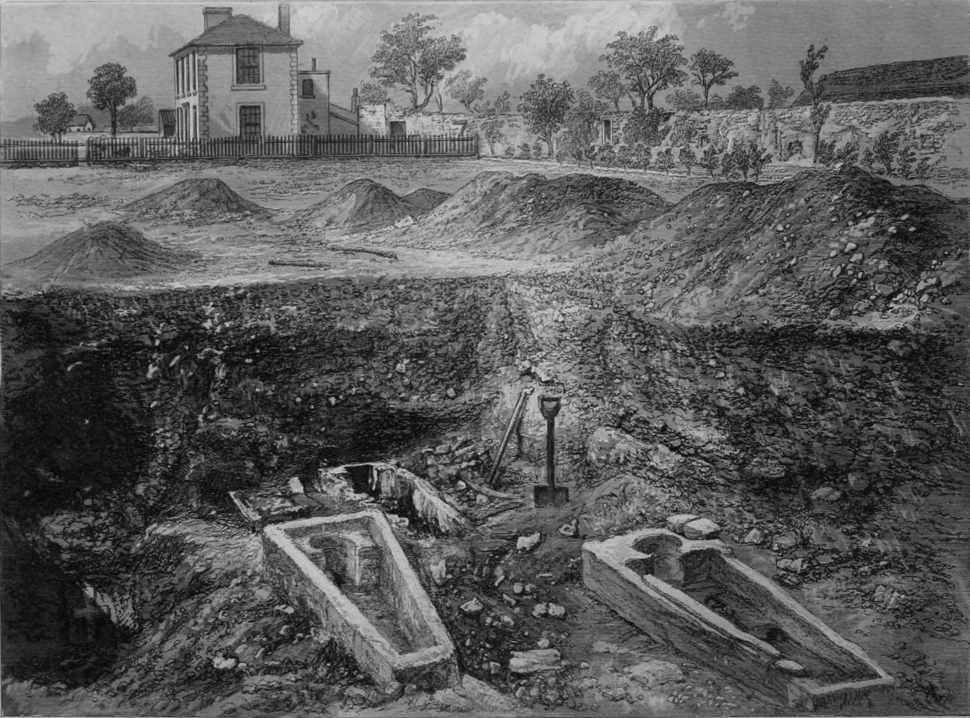 Stone coffins excavated on site of Chertsey Abbey (Surrey Archaeological Collections)