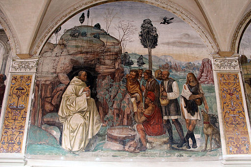 Storie di s. benedetto, 07 sodoma - Come Benedetto ammaestra nella santa dottrina i contadini che lo visitavano 01