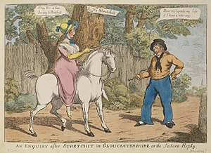 Sidesaddle - An early 19th-century English caricature, mocking women who rode astride.