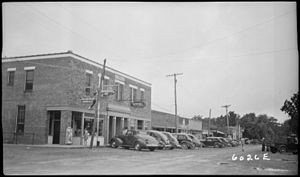 Linden, Tennessee - Downtown Linden, Tennessee in 1940 showing the hotel and a Gulf oil station. A Coca-Cola sign probably identifies the drug store.