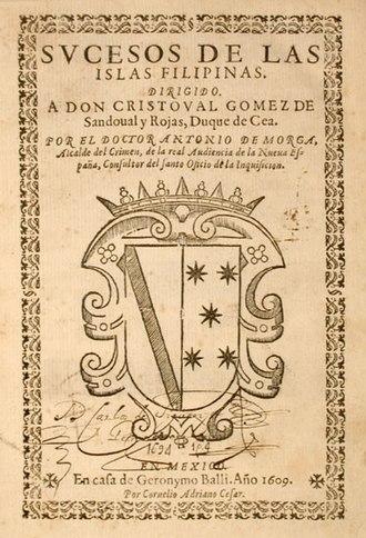 Antonio de Morga - Title page of Sucesos de las Islas Filipinas.