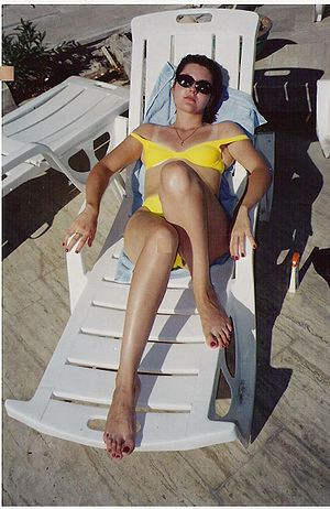 Sunbathing Russian girl in Turkey