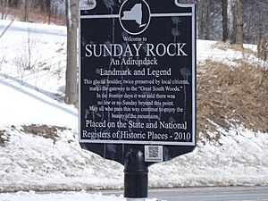 Sunday Rock - Marker at the site